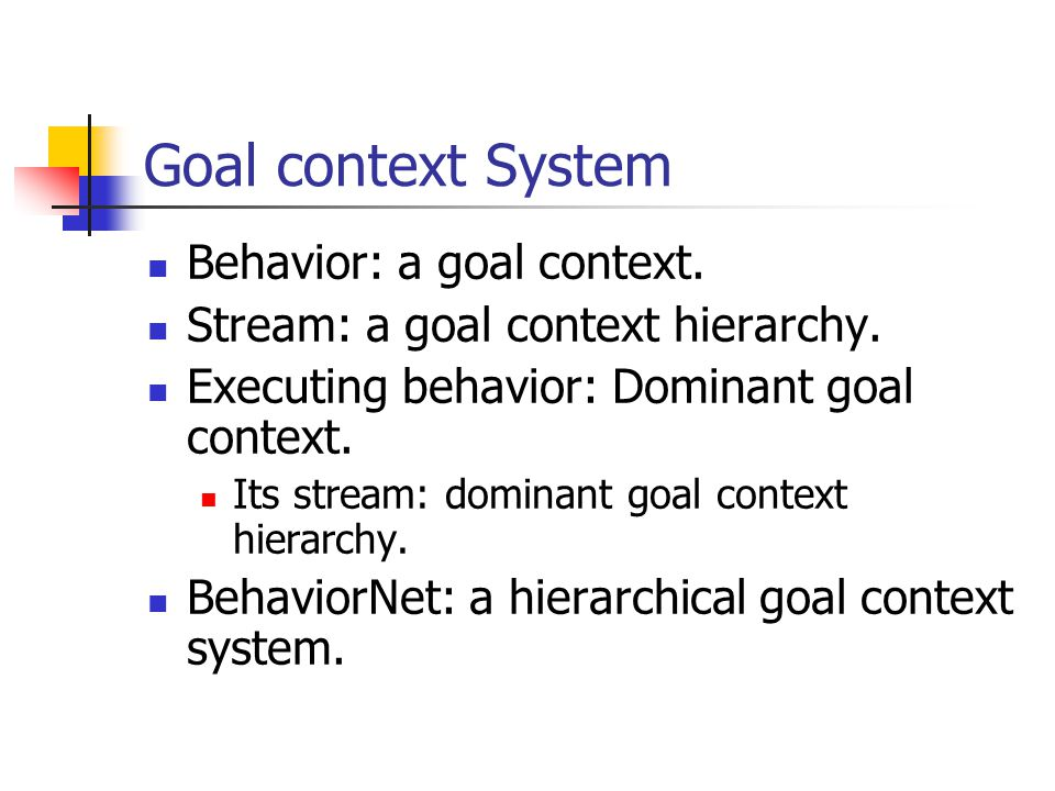 Goal context System Behavior: a goal context. Stream: a goal context hierarchy.