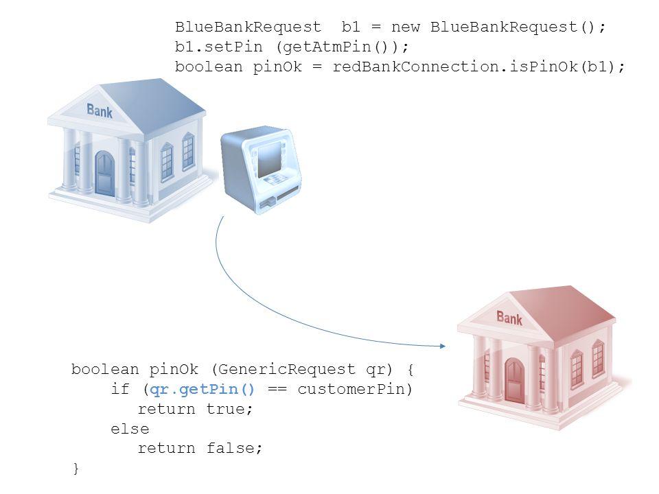 BlueBankRequest b1 = new BlueBankRequest(); b1.setPin (getAtmPin()); boolean pinOk = redBankConnection.isPinOk(b1); boolean pinOk (GenericRequest qr)