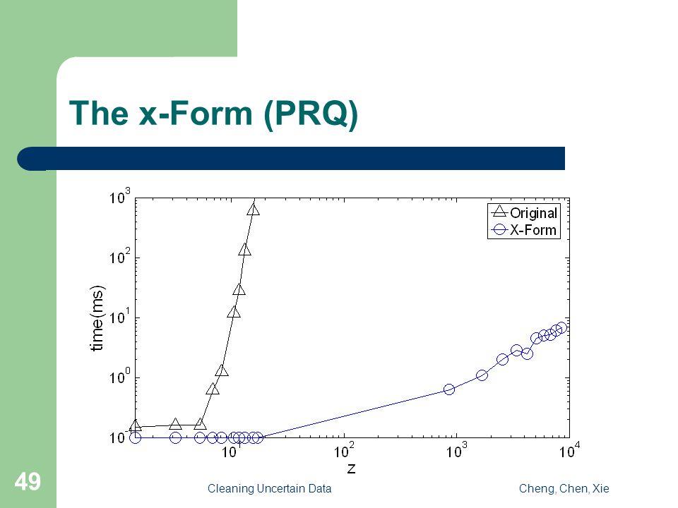 Cleaning Uncertain DataCheng, Chen, Xie 49 The x-Form (PRQ)