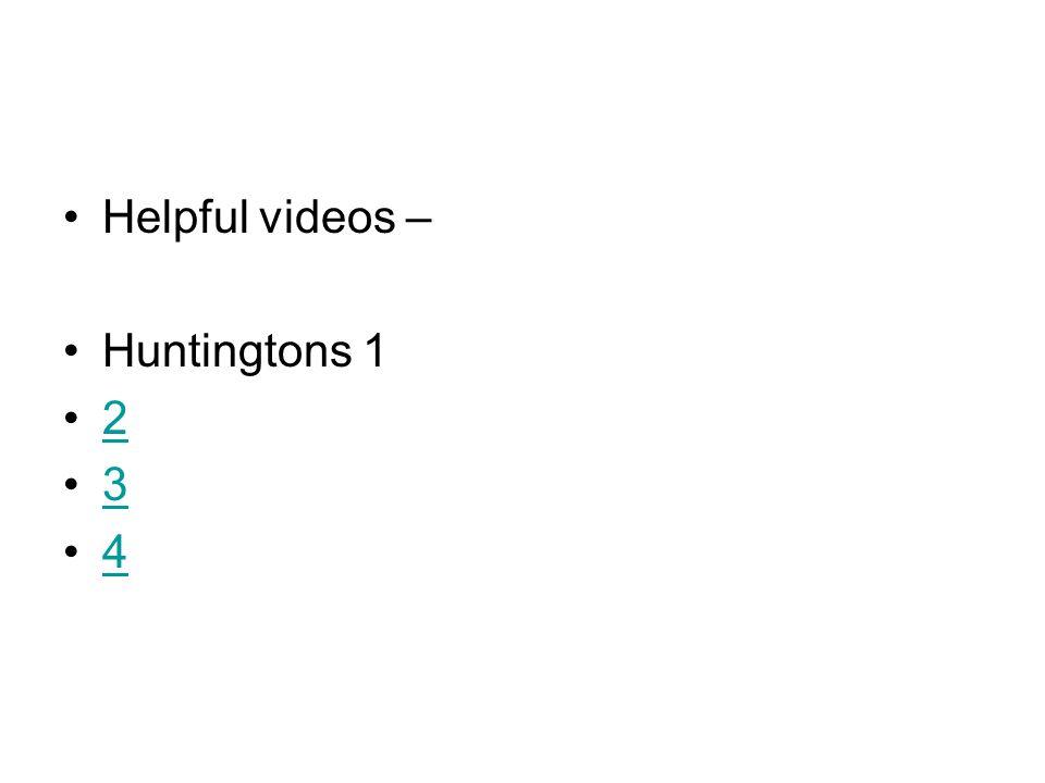 Helpful videos – Huntingtons 1 2 3 4