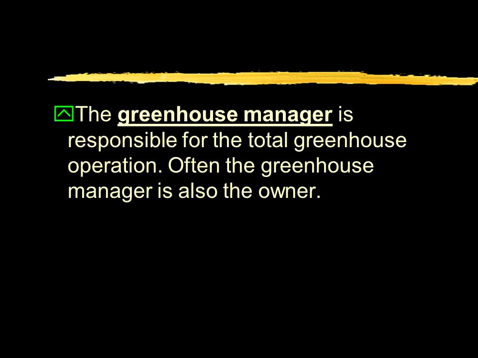 yThe greenhouse manager is responsible for the total greenhouse operation.