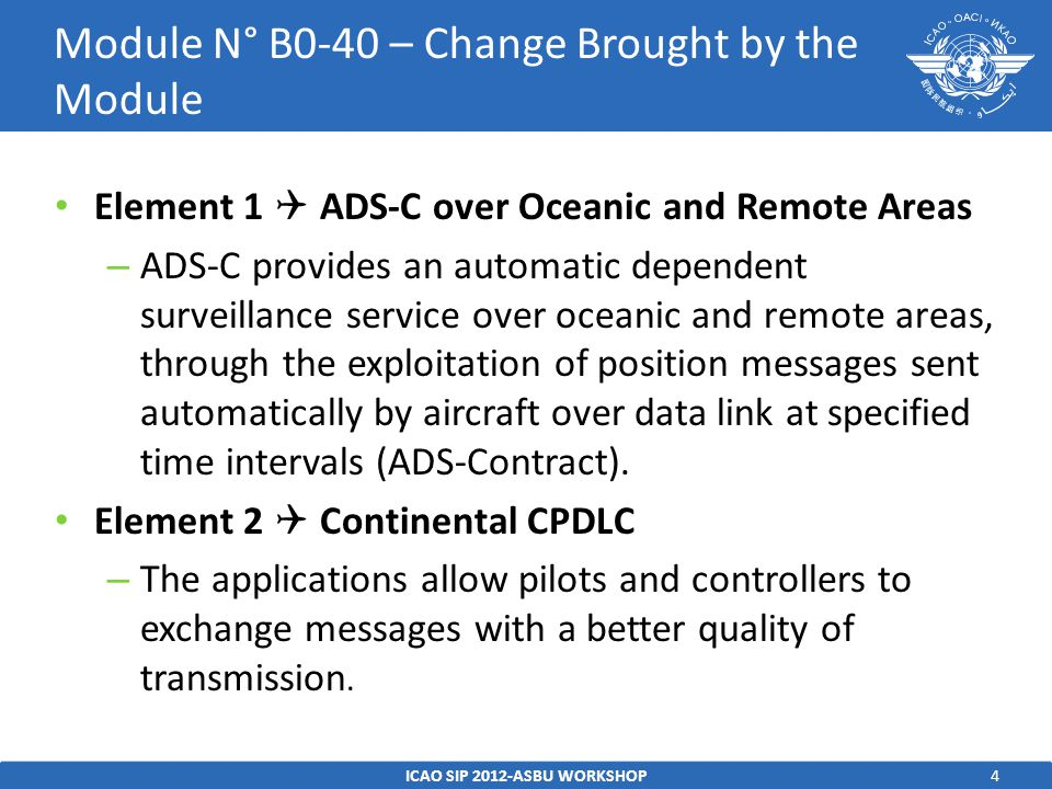 4 Element 1  ADS-C over Oceanic and Remote Areas – ADS-C provides an automatic dependent surveillance service over oceanic and remote areas, through the exploitation of position messages sent automatically by aircraft over data link at specified time intervals (ADS-Contract).