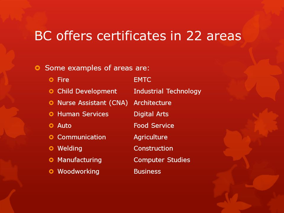 BC offers certificates in 22 areas  Some examples of areas are:  FireEMTC  Child DevelopmentIndustrial Technology  Nurse Assistant (CNA)Architecture  Human ServicesDigital Arts  AutoFood Service  CommunicationAgriculture  WeldingConstruction  ManufacturingComputer Studies  WoodworkingBusiness