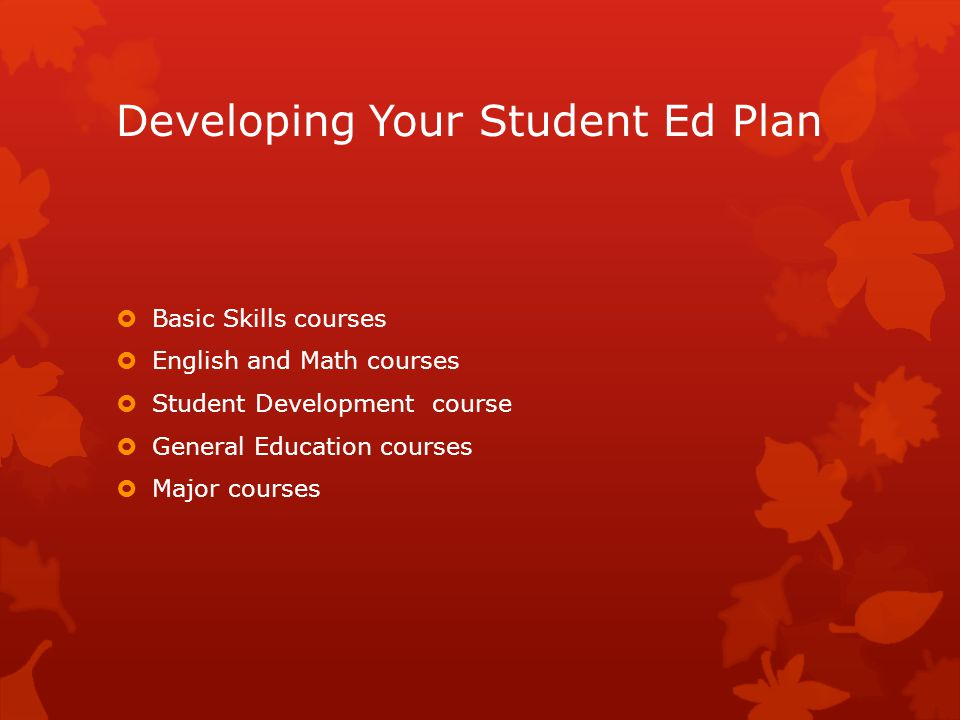 Developing Your Student Ed Plan  Basic Skills courses  English and Math courses  Student Development course  General Education courses  Major courses