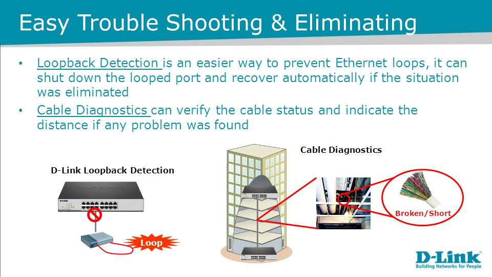 Easy Trouble Shooting & Eliminating Loopback Detection is an easier way to prevent Ethernet loops, it can shut down the looped port and recover automa
