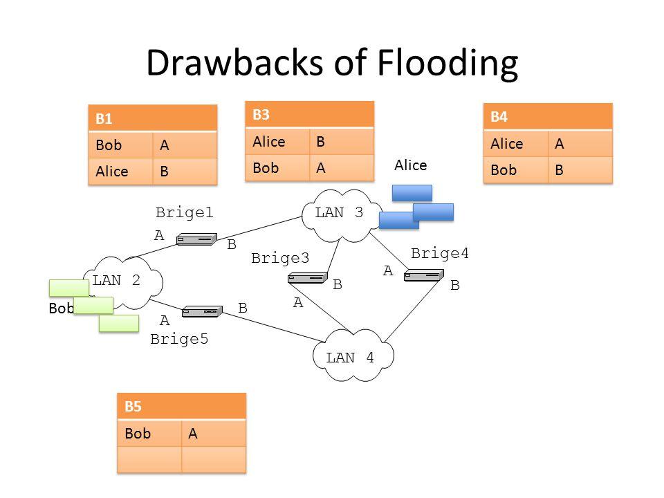 Drawbacks of Flooding LAN 2 LAN 3 LAN 4 Brige1 Brige5 Brige3 Brige4 A B A B A B A B Alice Bob