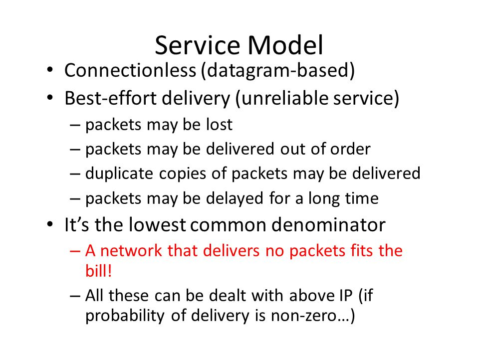 Service Model Connectionless (datagram-based) Best-effort delivery (unreliable service) – packets may be lost – packets may be delivered out of order