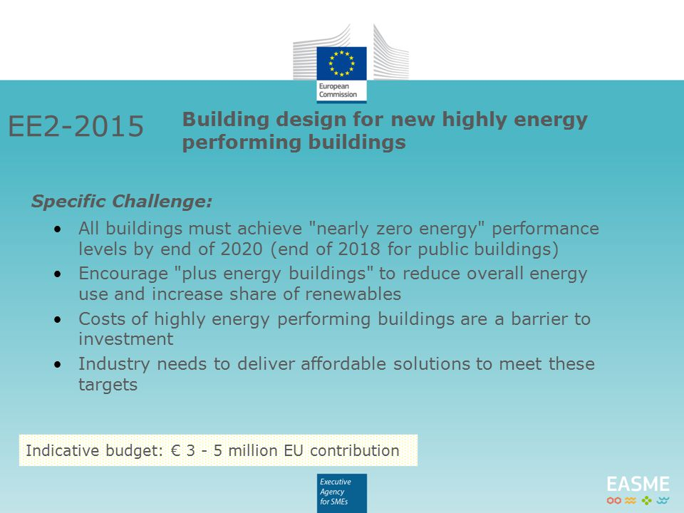 EE2-2015 Building design for new highly energy performing buildings All buildings must achieve nearly zero energy performance levels by end of 2020 (end of 2018 for public buildings) Encourage plus energy buildings to reduce overall energy use and increase share of renewables Costs of highly energy performing buildings are a barrier to investment Industry needs to deliver affordable solutions to meet these targets Specific Challenge: Indicative budget: € 3 - 5 million EU contribution