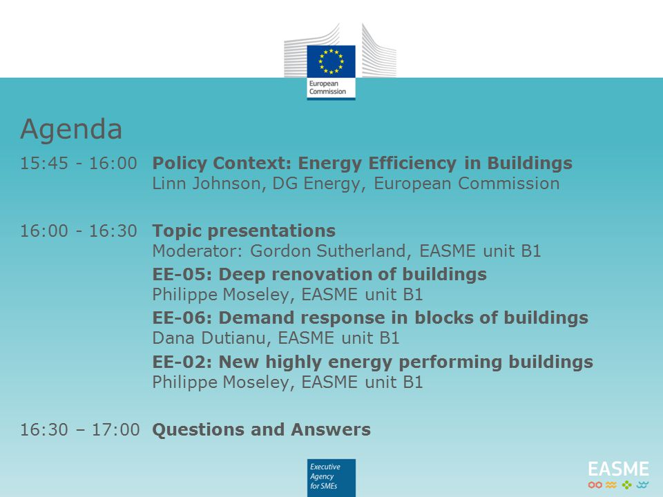 Challenge: Create a market for deep renovation Increase the rate of deep/NZEB renovation Process and organisation innovation Indicative budget of a proposal: € 1.5-2 million EU support (Although this does not preclude submission and selection of proposals requesting other amounts) EE-05 Deep renovation of buildings