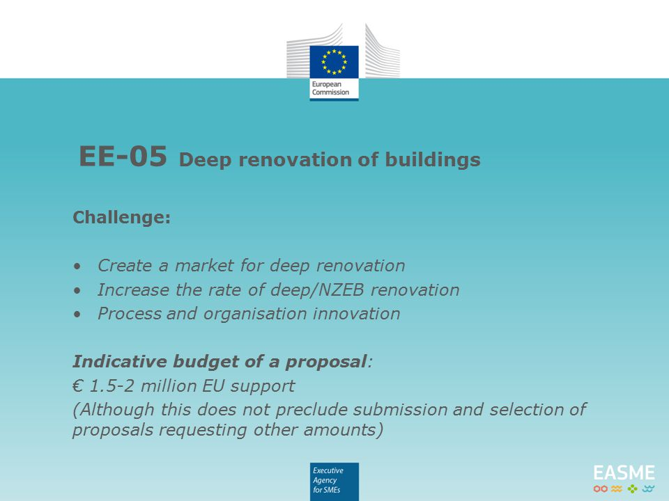 Call Deadlines EE-02-20154th February 2015 EE-05-20154th June 2015 EE-06-20154th June 2015 Horizon 2020 documents: http://ec.europa.eu/research/horizon2020/index_en.cfm?pg=h2020- documents Call texts and Frequently Asked Questions: http://ec.europa.eu/easme/en/energy For more information email the EASME team: EASME-Energy@ec.europa.eu