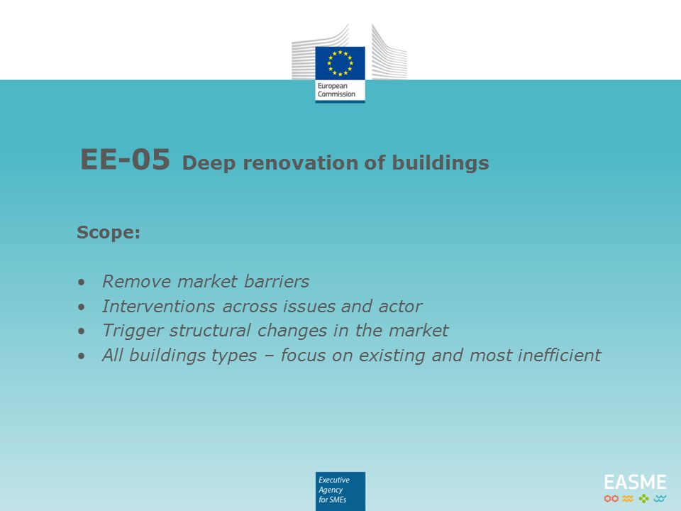 Scope: Remove market barriers Interventions across issues and actor Trigger structural changes in the market All buildings types – focus on existing and most inefficient EE-05 Deep renovation of buildings