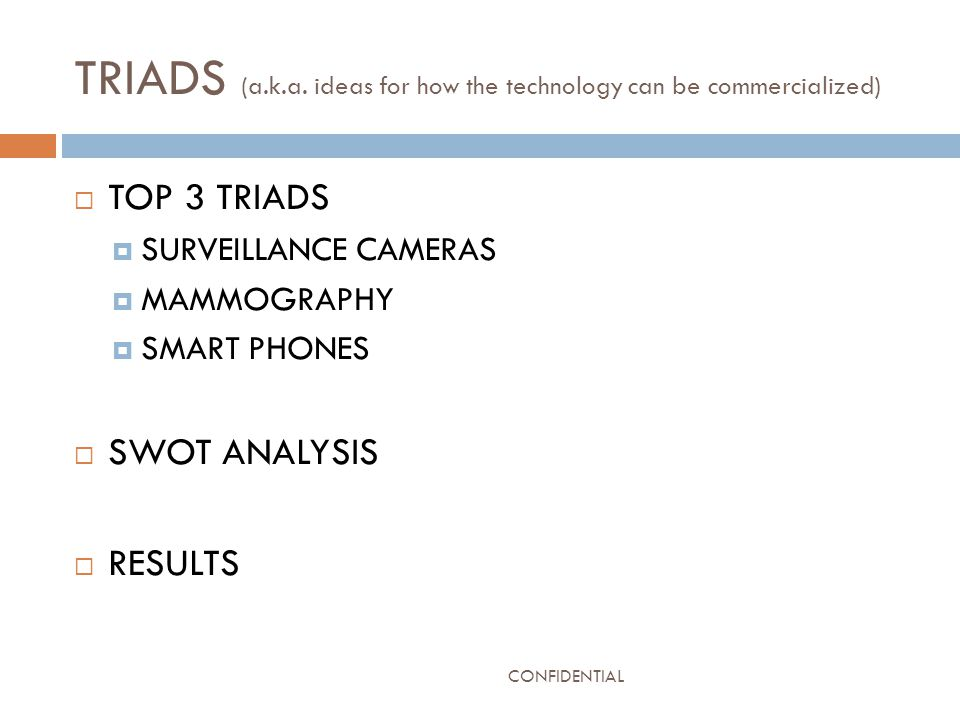 TRIADS (a.k.a. ideas for how the technology can be commercialized)  TOP 3 TRIADS  SURVEILLANCE CAMERAS  MAMMOGRAPHY  SMART PHONES  SWOT ANALYSIS
