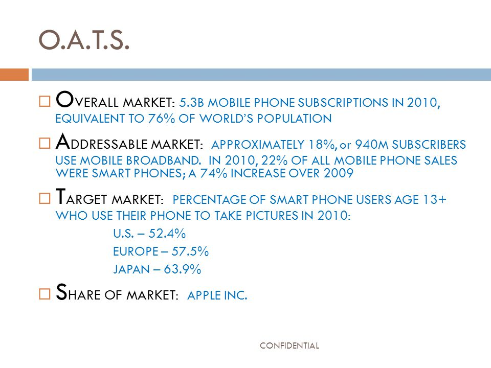 O.A.T.S.  O VERALL MARKET: 5.3B MOBILE PHONE SUBSCRIPTIONS IN 2010, EQUIVALENT TO 76% OF WORLD'S POPULATION  A DDRESSABLE MARKET: APPROXIMATELY 18%,