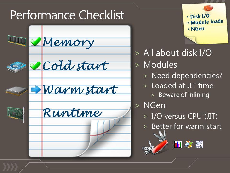 Cold start Warm start Runtime Memory Disk I/O Module loads NGen