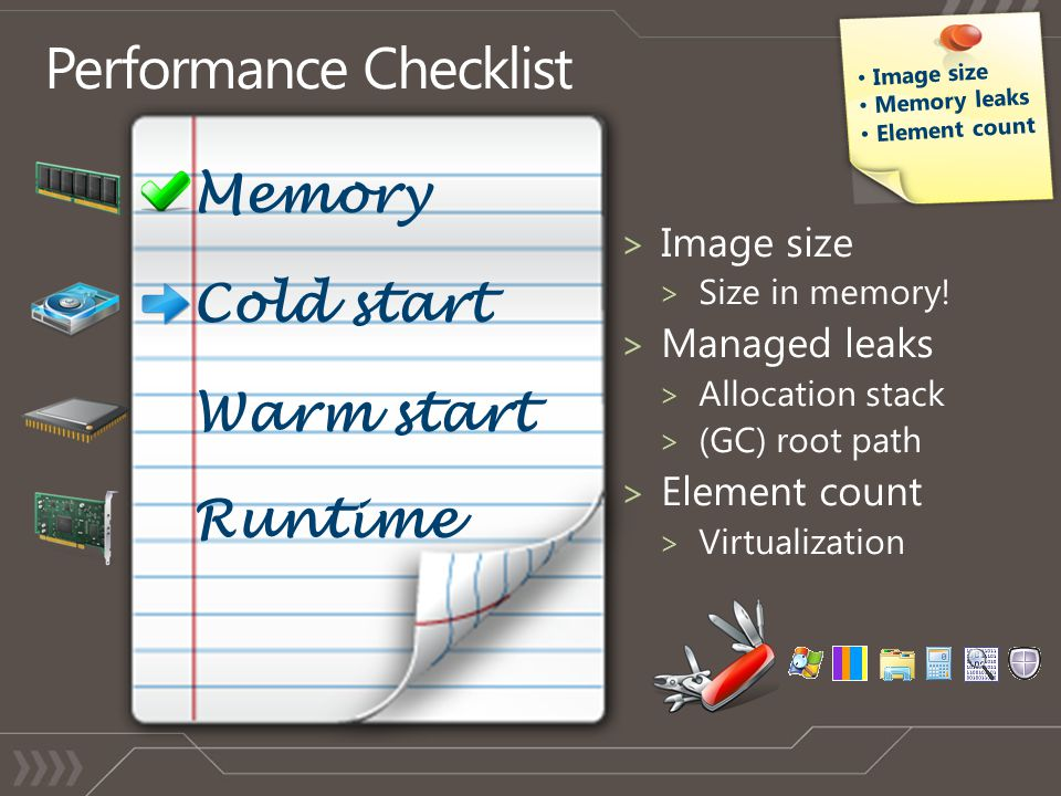 Cold start Warm start Runtime Memory Image size Memory leaks Element count