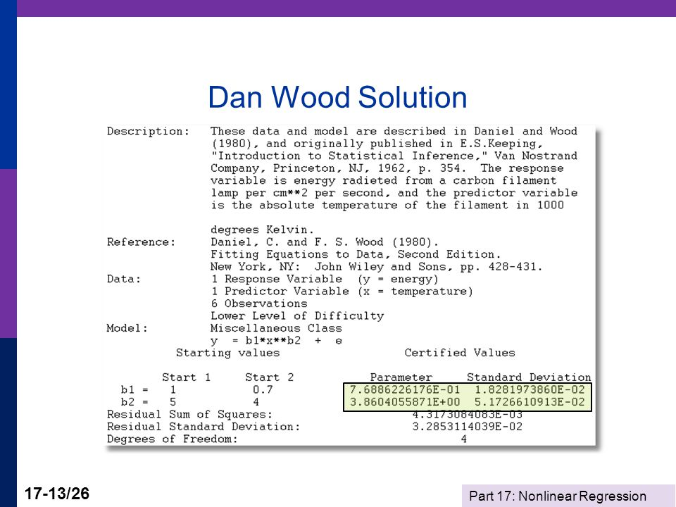 Part 17: Nonlinear Regression 17-13/26 Dan Wood Solution