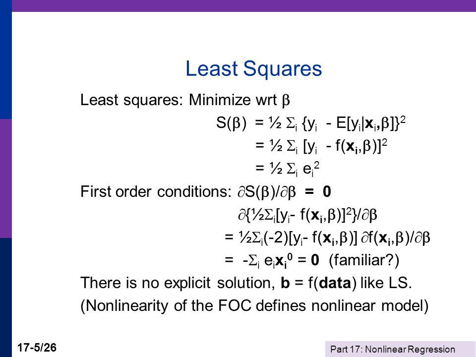 Part 17: Nonlinear Regression 17-16/26 NLS Solution The pseudo regressors and residuals at the solution are: X10 X20 X30 1 x  2  1 x  2 lnx e0 12.479830.721624.0036 13.675661.5331 -.0058 13.838261.65415-.0055 14.529722.19255-.0097 14.994662.57397.0298 15.753583.22585-.0124 X0e0 =.3375078D-13.3167466D-12.1283528D-10