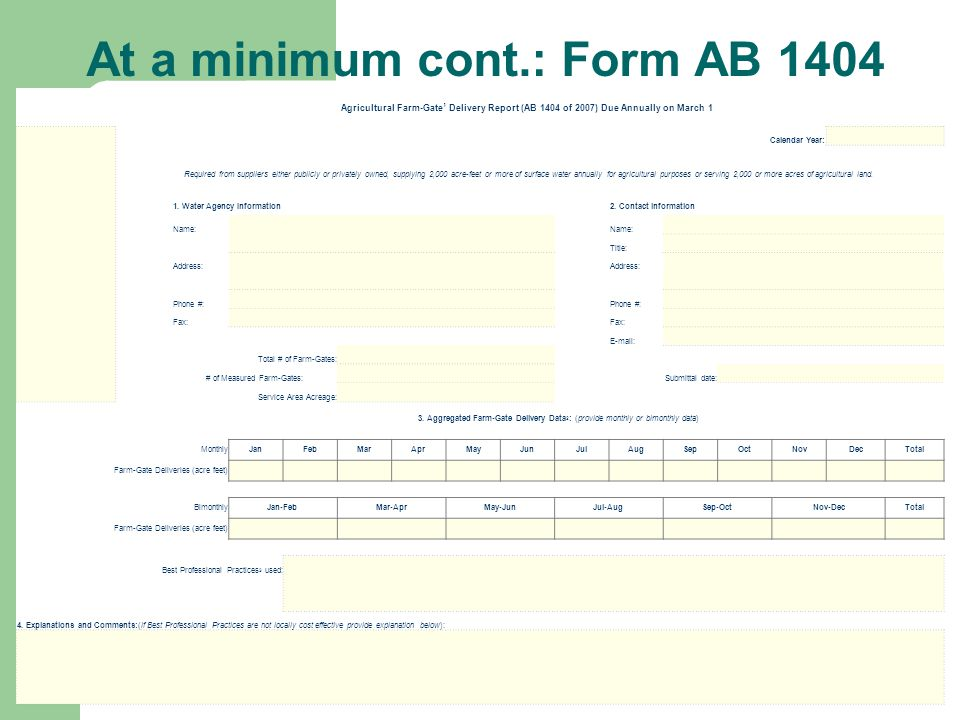 At a minimum cont.: Form AB 1404 Agricultural Farm-Gate 1 Delivery Report (AB 1404 of 2007) Due Annually on March 1 Calendar Year: Required from suppl