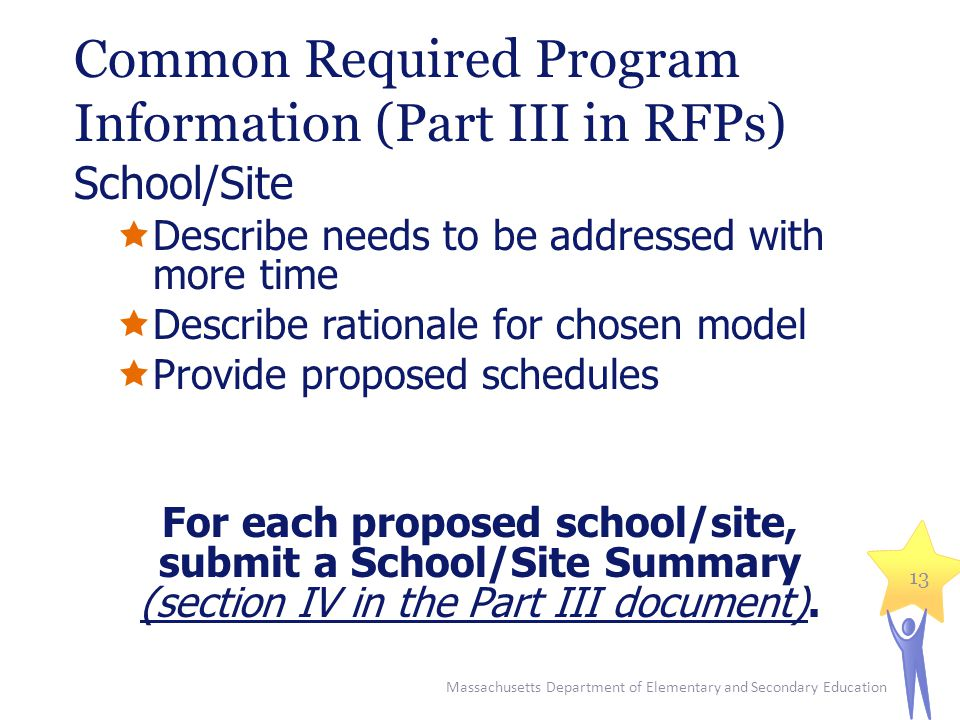 Common Required Program Information (Part III in RFPs) School/Site  Describe needs to be addressed with more time  Describe rationale for chosen model  Provide proposed schedules For each proposed school/site, submit a School/Site Summary (section IV in the Part III document).