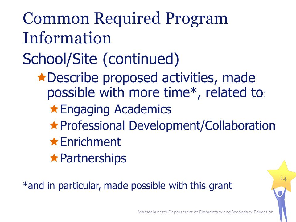 Common Required Program Information School/Site (continued)  Describe proposed activities, made possible with more time*, related to :  Engaging Academics  Professional Development/Collaboration  Enrichment  Partnerships *and in particular, made possible with this grant Massachusetts Department of Elementary and Secondary Education 14