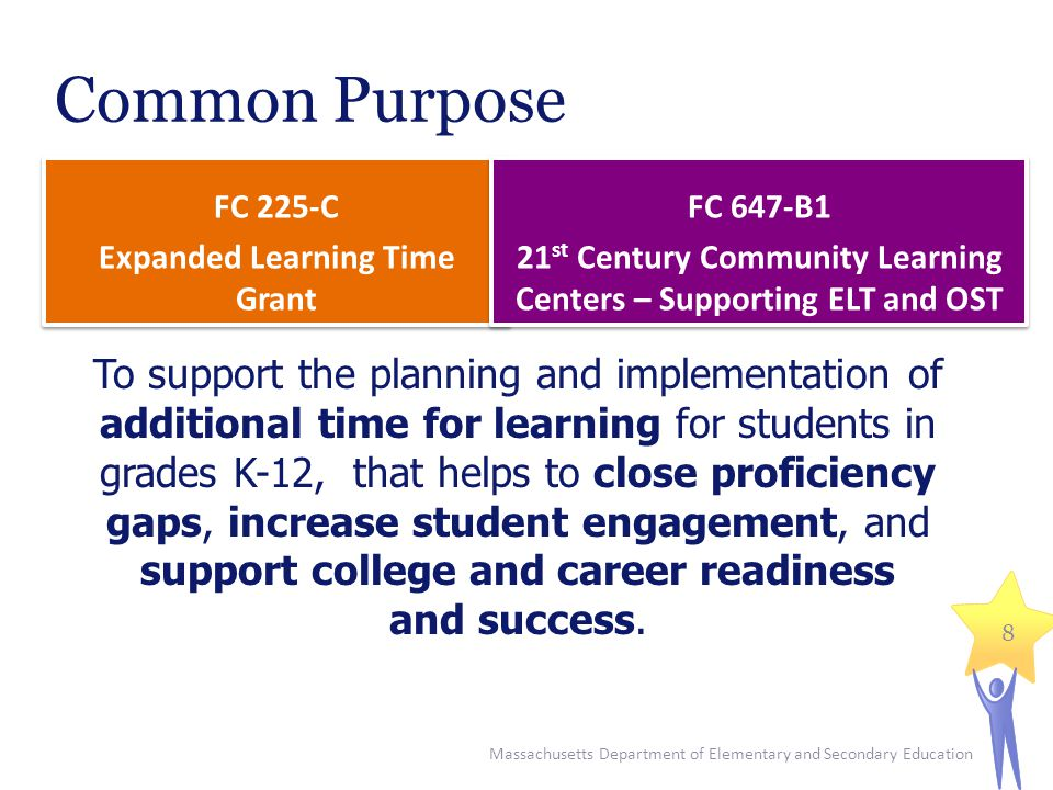 Common Purpose FC 225-C Expanded Learning Time Grant FC 225-C Expanded Learning Time Grant To support the planning and implementation of additional time for learning for students in grades K-12, that helps to close proficiency gaps, increase student engagement, and support college and career readiness and success.