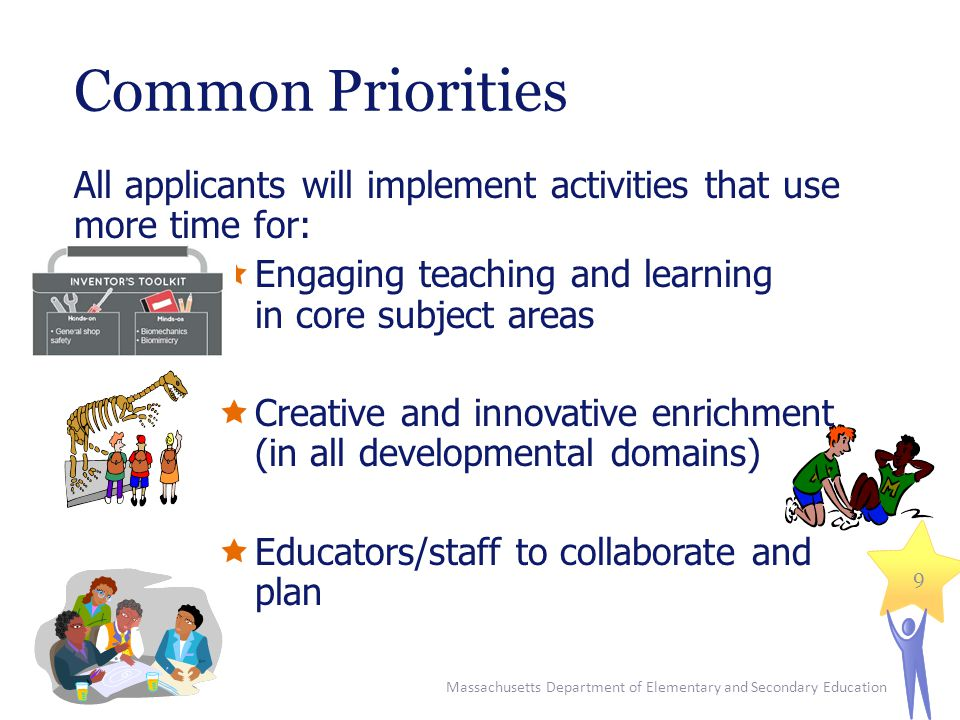 Common Priorities All applicants will implement activities that use more time for:  Engaging teaching and learning in core subject areas  Creative and innovative enrichment (in all developmental domains)  Educators/staff to collaborate and plan Massachusetts Department of Elementary and Secondary Education 9
