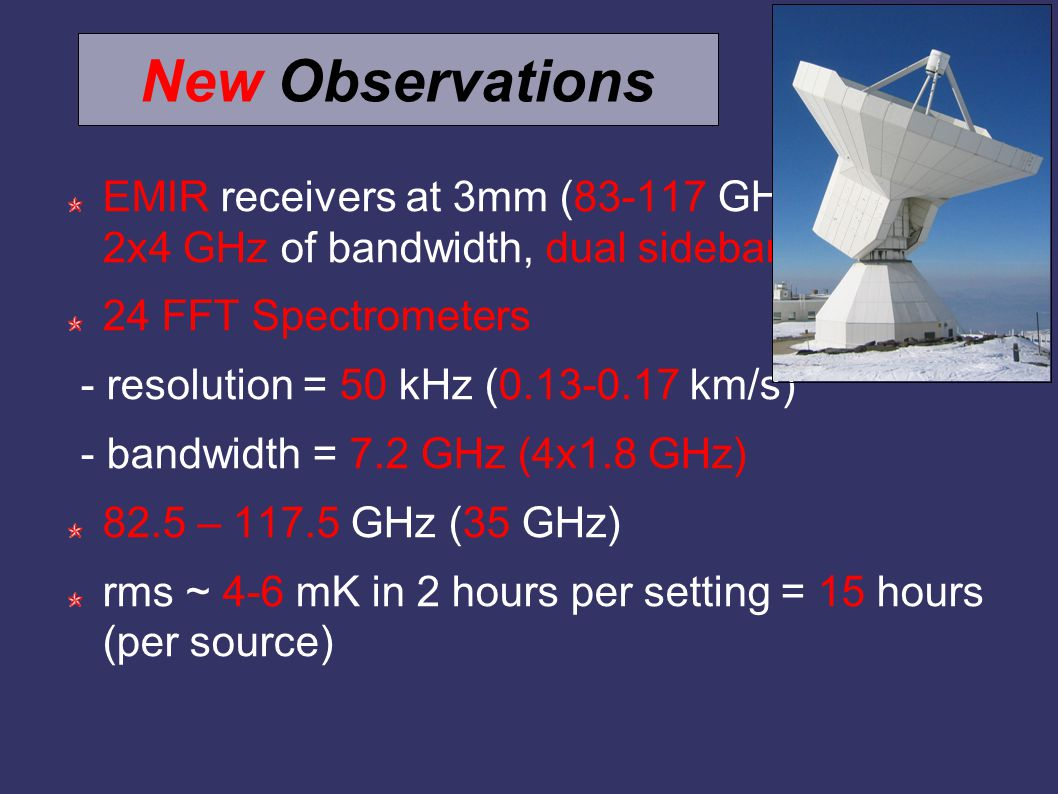 New Observations EMIR receivers at 3mm (83-117 GHz; 2x4 GHz of bandwidth, dual sideband) 24 FFT Spectrometers - resolution = 50 kHz (0.13-0.17 km/s) - bandwidth = 7.2 GHz (4x1.8 GHz) 82.5 – 117.5 GHz (35 GHz) rms ~ 4-6 mK in 2 hours per setting = 15 hours (per source)