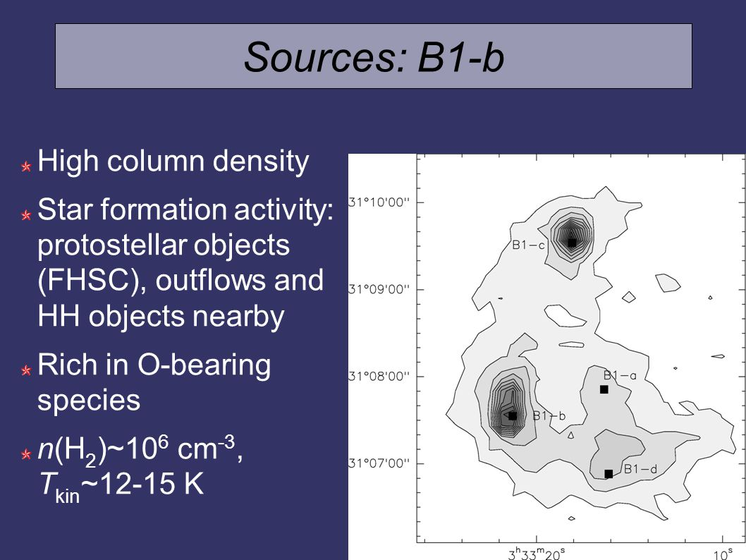 Sources: B1-b High column density Star formation activity: protostellar objects (FHSC), outflows and HH objects nearby Rich in O-bearing species n(H 2 )~10 6 cm -3, T kin ~12-15 K