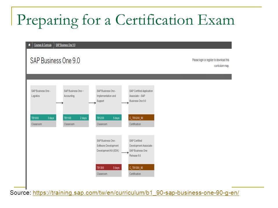 Preparing for a Certification Exam Source: https://training.sap.com/tw/en/curriculum/b1_90-sap-business-one-90-g-en/https://training.sap.com/tw/en/curriculum/b1_90-sap-business-one-90-g-en/