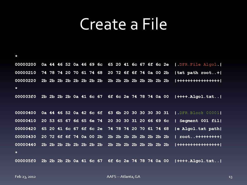 Create a File * 00000200 0a 44 46 52 0a 46 69 6c 65 20 41 6c 67 6f 6c 2e |.DFR.File Algol.| 00000210 74 78 74 20 70 61 74 68 20 72 6f 6f 74 0a 00 2b |txt path root..+| 00000220 2b 2b 2b 2b 2b 2b 2b 2b 2b 2b 2b 2b 2b 2b 2b 2b |++++++++++++++++| * 000003f0 2b 2b 2b 2b 0a 41 6c 67 6f 6c 2e 74 78 74 0a 00 |++++.Algol.txt..| 00000400 0a 44 46 52 0a 42 6c 6f 63 6b 20 30 30 30 30 31 |.DFR.Block 00001| 00000410 20 53 65 67 6d 65 6e 74 20 30 30 31 20 66 69 6c | Segment 001 fil| 00000420 65 20 41 6c 67 6f 6c 2e 74 78 74 20 70 61 74 68 |e Algol.txt path| 00000430 20 72 6f 6f 74 0a 00 2b 2b 2b 2b 2b 2b 2b 2b 2b | root..+++++++++| 00000440 2b 2b 2b 2b 2b 2b 2b 2b 2b 2b 2b 2b 2b 2b 2b 2b |++++++++++++++++| * 000005f0 2b 2b 2b 2b 0a 41 6c 67 6f 6c 2e 74 78 74 0a 00 |++++.Algol.txt..| Feb 23, 2012AAFS -- Atlanta, GA13