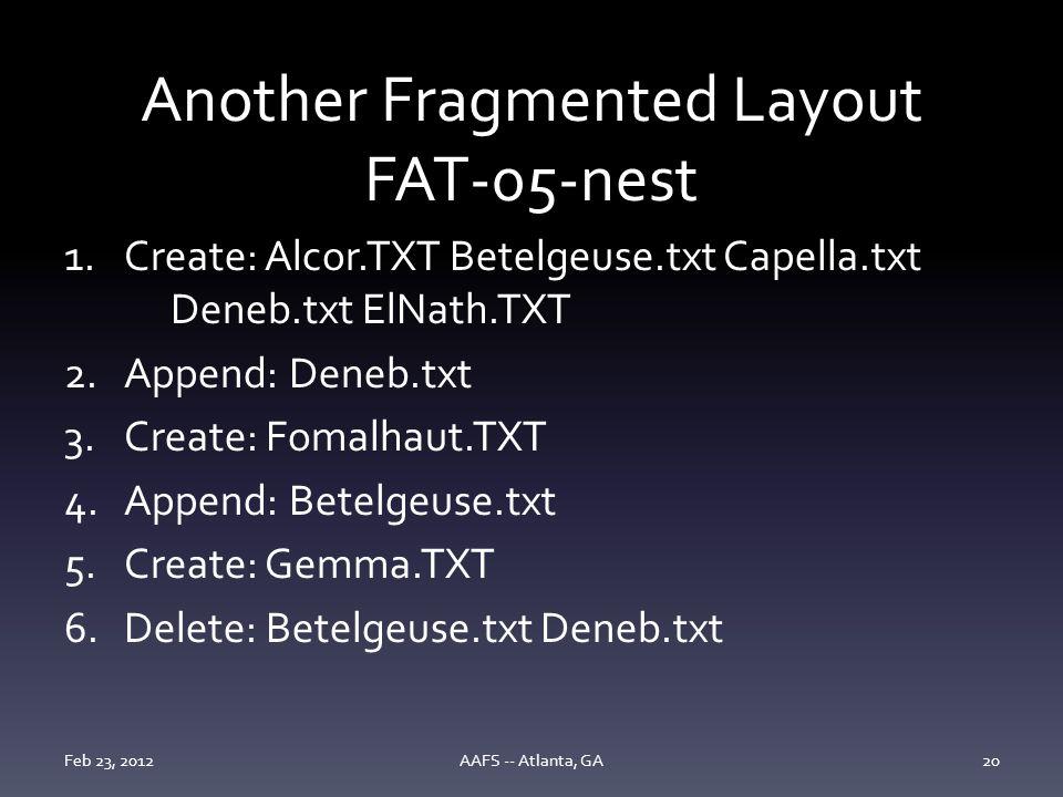 Another Fragmented Layout FAT-05-nest 1.Create: Alcor.TXT Betelgeuse.txt Capella.txt Deneb.txt ElNath.TXT 2.Append: Deneb.txt 3.Create: Fomalhaut.TXT 4.Append: Betelgeuse.txt 5.Create: Gemma.TXT 6.Delete: Betelgeuse.txt Deneb.txt Feb 23, 2012AAFS -- Atlanta, GA20