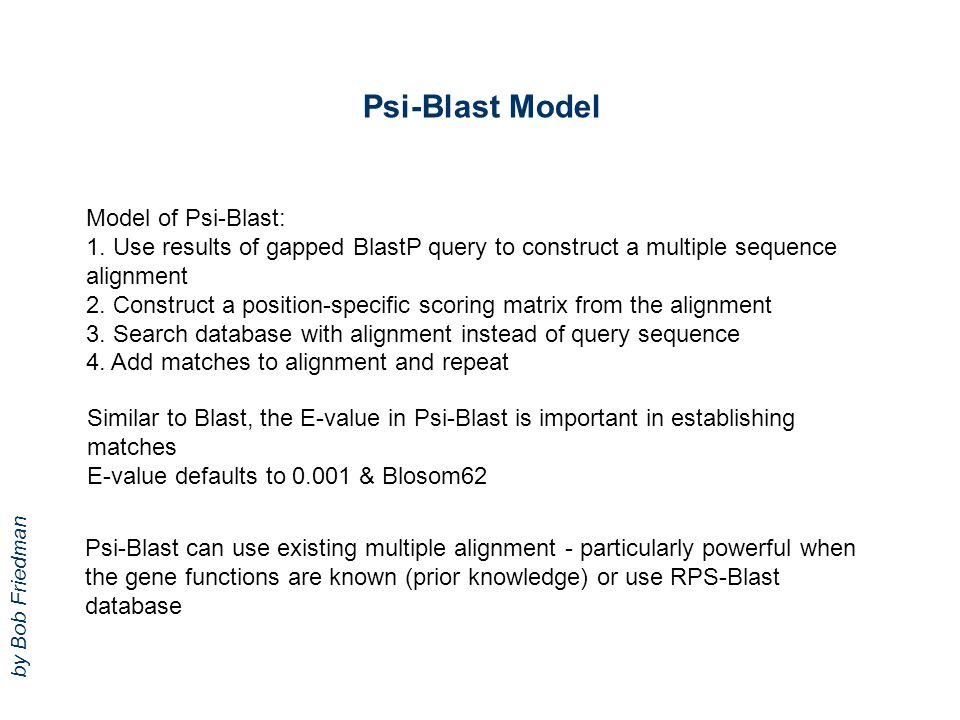 Psi-Blast Model Model of Psi-Blast: 1. Use results of gapped BlastP query to construct a multiple sequence alignment 2. Construct a position-specific