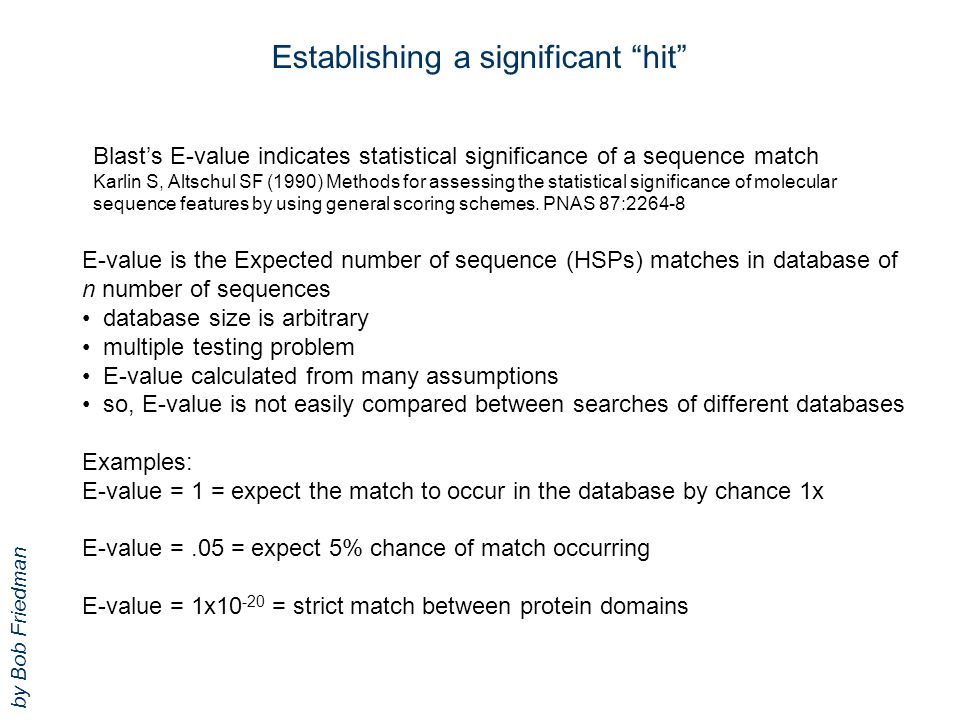 Establishing a significant hit E-value is the Expected number of sequence (HSPs) matches in database of n number of sequences database size is arbitrary multiple testing problem E-value calculated from many assumptions so, E-value is not easily compared between searches of different databases Examples: E-value = 1 = expect the match to occur in the database by chance 1x E-value =.05 = expect 5% chance of match occurring E-value = 1x10 -20 = strict match between protein domains Blast's E-value indicates statistical significance of a sequence match Karlin S, Altschul SF (1990) Methods for assessing the statistical significance of molecular sequence features by using general scoring schemes.