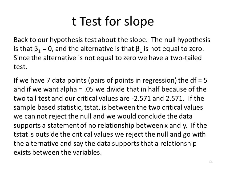 t Test for slope 22 Back to our hypothesis test about the slope.