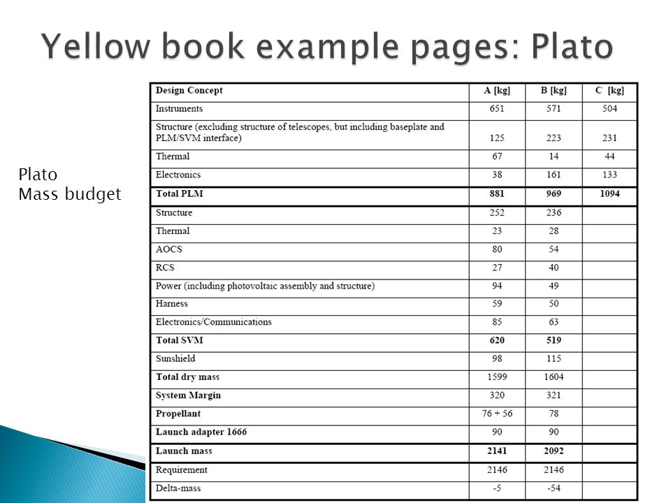 Plato Mass budget