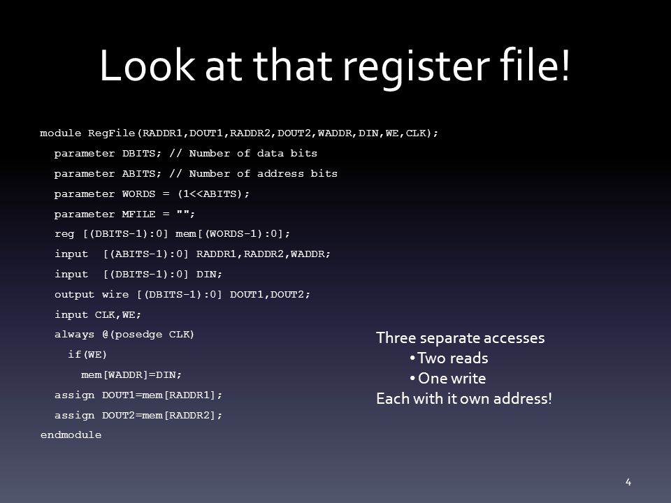 Look at that register file.