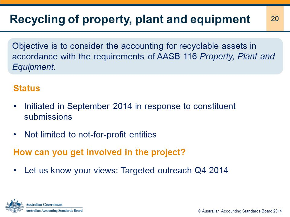 20 Recycling of property, plant and equipment Status Initiated in September 2014 in response to constituent submissions Not limited to not-for-profit entities How can you get involved in the project.