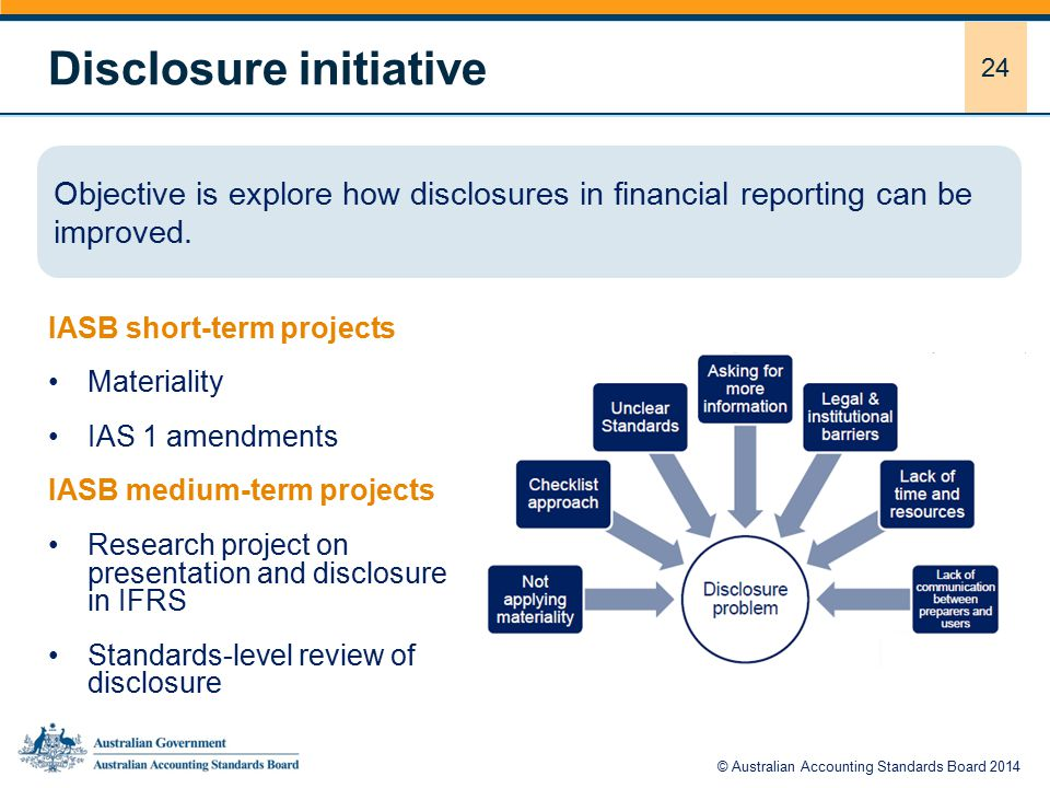 24 Disclosure initiative IASB short-term projects Materiality IAS 1 amendments IASB medium-term projects Research project on presentation and disclosure in IFRS Standards-level review of disclosure Objective is explore how disclosures in financial reporting can be improved.