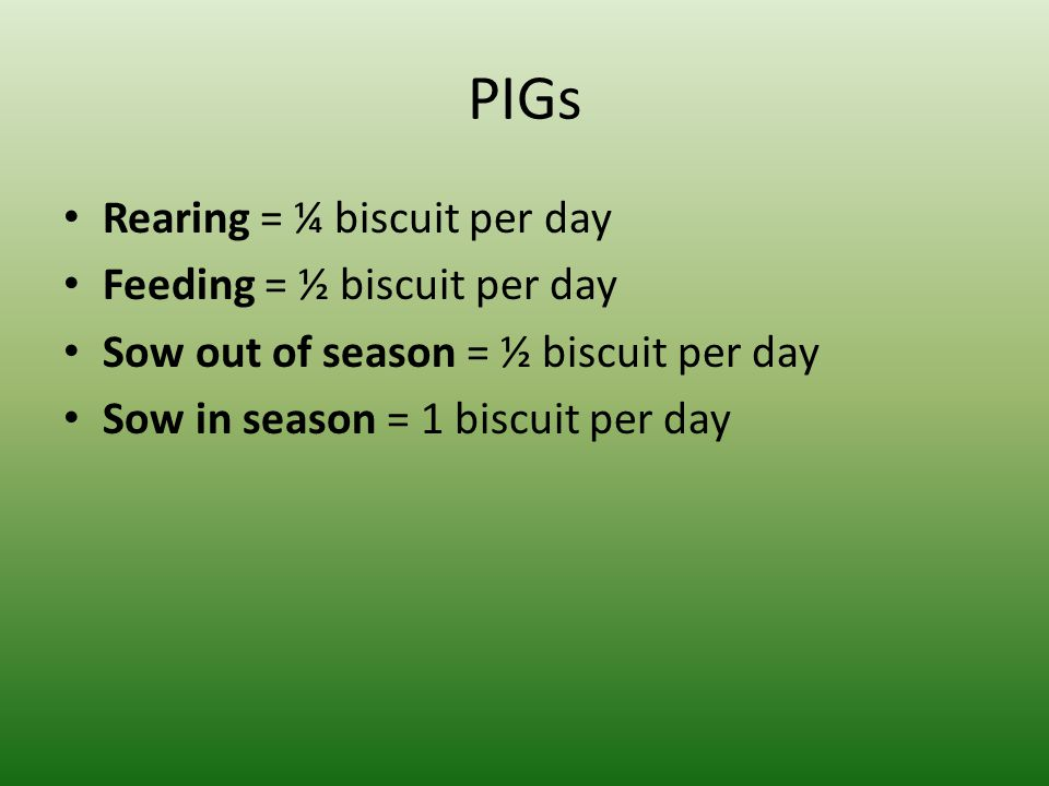 PIGs Rearing = ¼ biscuit per day Feeding = ½ biscuit per day Sow out of season = ½ biscuit per day Sow in season = 1 biscuit per day