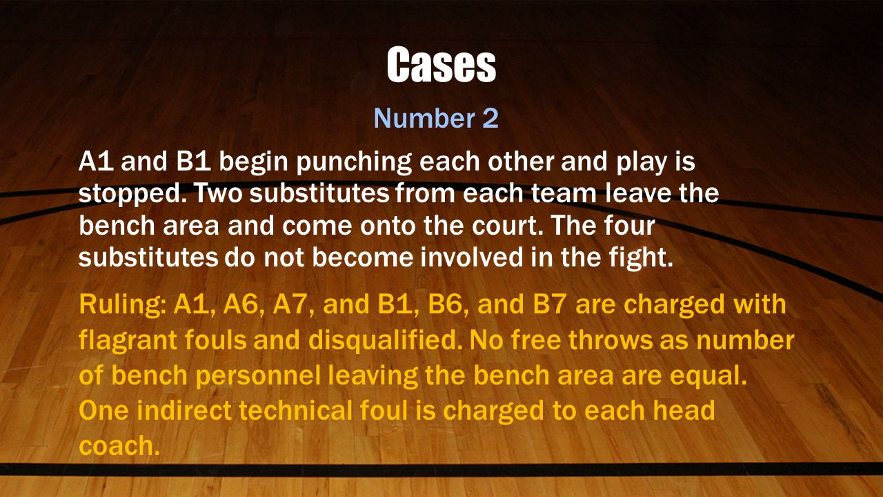 Cases Number 2 A1 and B1 begin punching each other and play is stopped.