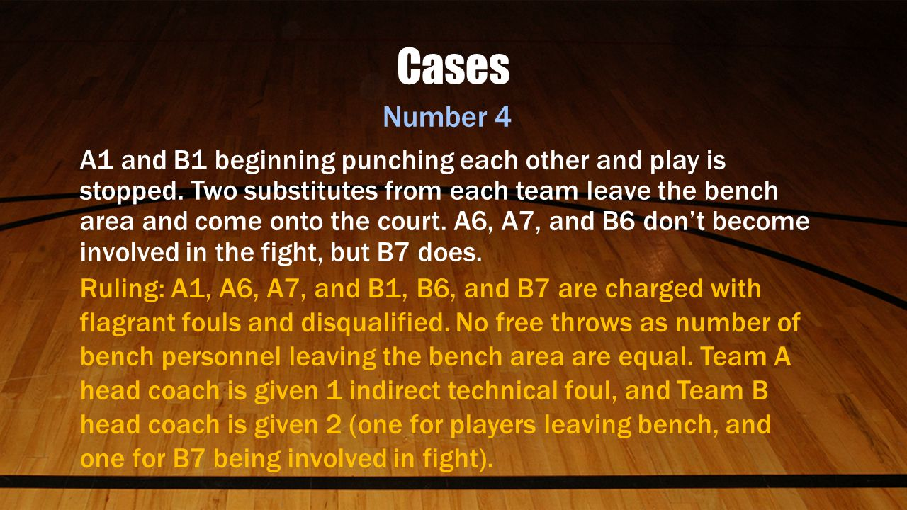 Cases Number 4 A1 and B1 beginning punching each other and play is stopped.
