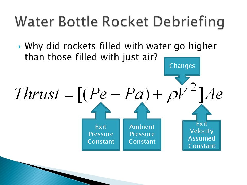  Why did rockets filled with water go higher than those filled with just air.