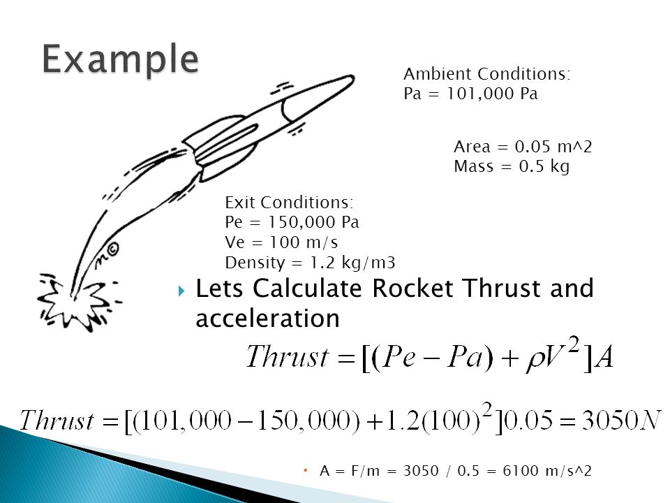  Lets Calculate Rocket Thrust and acceleration  A = F/m = 3050 / 0.5 = 6100 m/s^2 Ambient Conditions: Pa = 101,000 Pa Exit Conditions: Pe = 150,000 Pa Ve = 100 m/s Density = 1.2 kg/m3 Area = 0.05 m^2 Mass = 0.5 kg