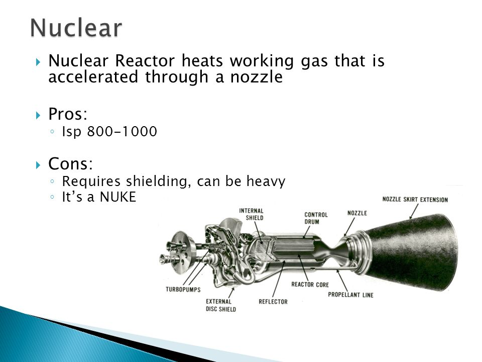 Nuclear Reactor heats working gas that is accelerated through a nozzle  Pros: ◦ Isp 800-1000  Cons: ◦ Requires shielding, can be heavy ◦ It's a NUKE