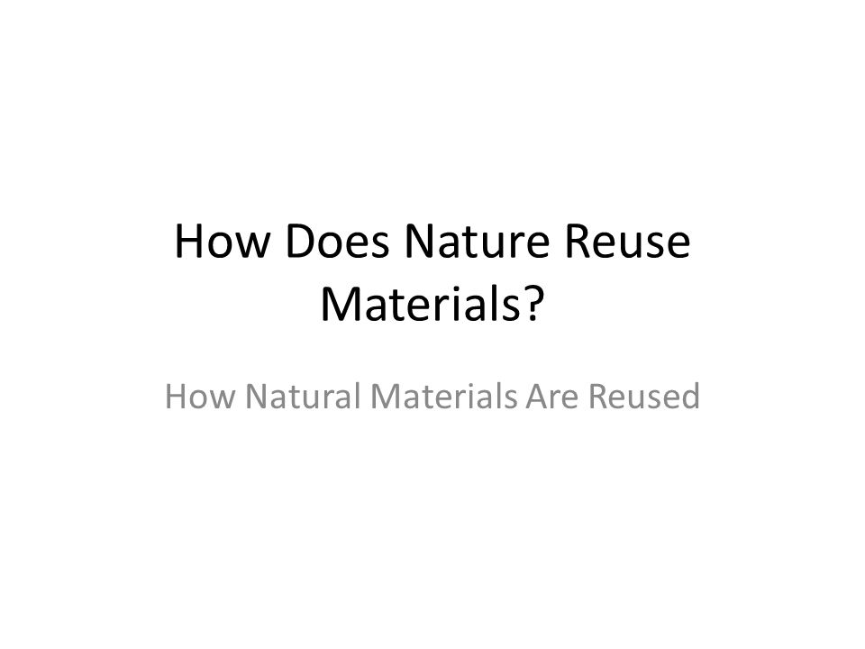 How Does Nature Reuse Materials? How Natural Materials Are Reused