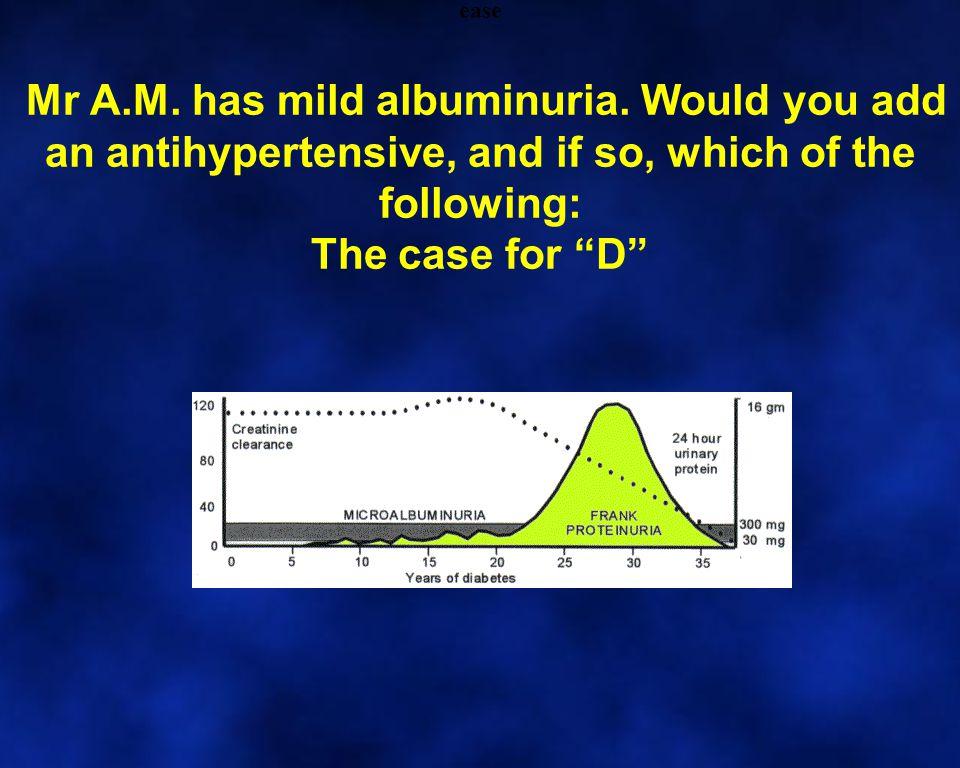 Mr A.M. has mild albuminuria.