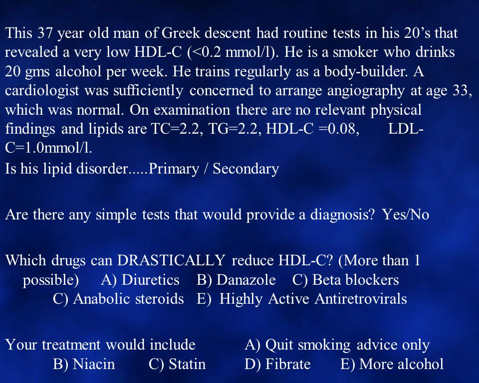 Is his lipid disorder.....Primary / Secondary Are there any simple tests that would provide a diagnosis.