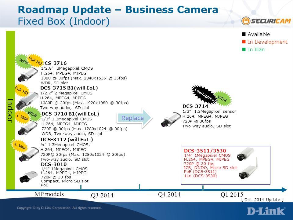 "DCS-3112 (will EoL ) ¼"" 1.3Megapixel CMOS, H.264, MPEG4, MJPEG 720P@ 30fps (Max. 1280x1024 @ 30fps) Two-way audio, SD slot DCS-3715 B1(will EoL) 1/2.7"