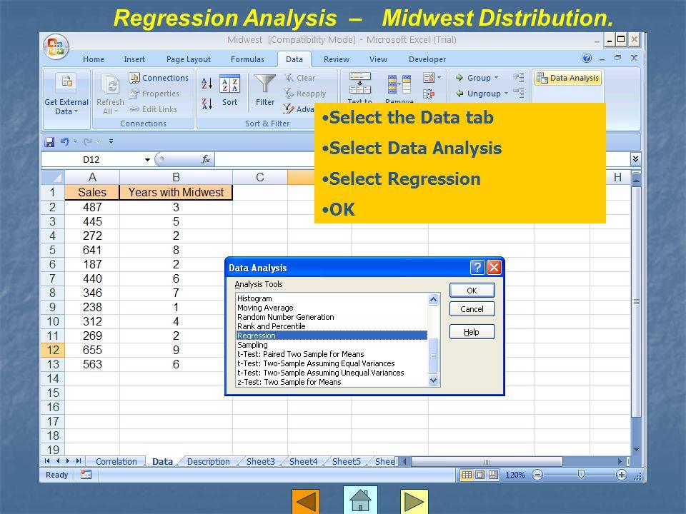 Regression Analysis – Midwest Distribution. Select the Data tab Select Data Analysis Select Regression OK