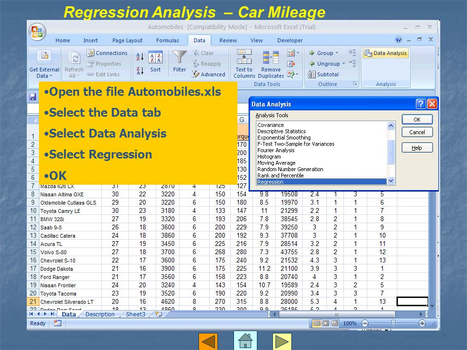 Regression Analysis – Car Mileage Open the file Automobiles.xls Select the Data tab Select Data Analysis Select Regression OK